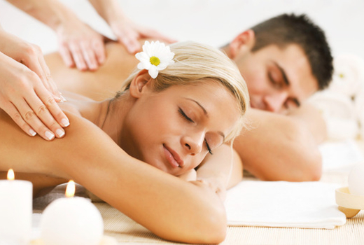 Couples massage beautiful couple candles