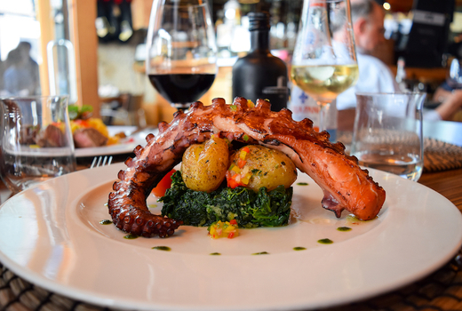 Mykonos blue octopus starter wines wow