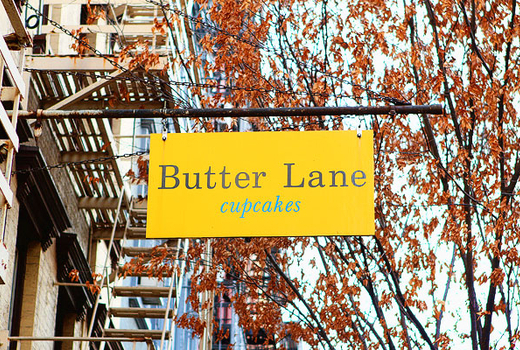 Butter lane cupcakes sign