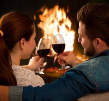 Diamond mills hotel wine fireplace