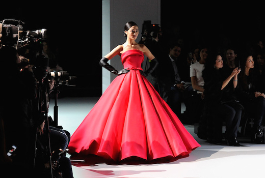 Couture fashion week red dress