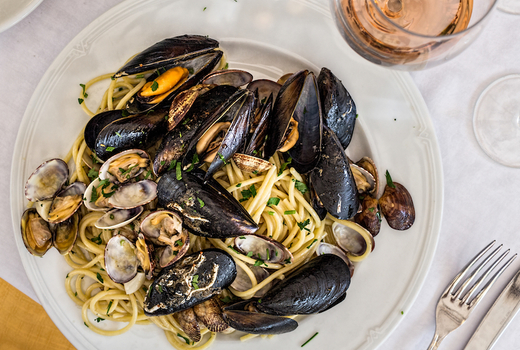 Co ppolas east dinner pasta mussels clams wine