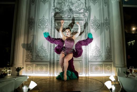 Duane park performer purple dress