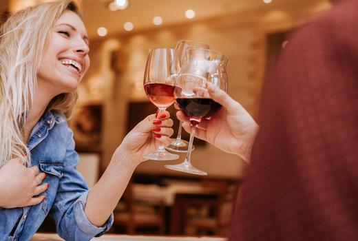 Wine fest woman drinking happy