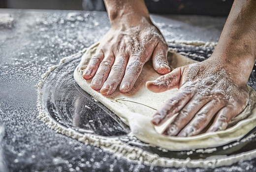 Make pizza drink bubbly hands making dough