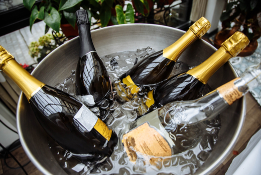 Flute champagne school sparkling wine bottles bucket ice