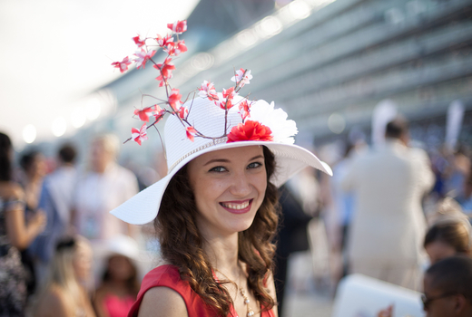 Village lantern kentucky derby woman happy hat