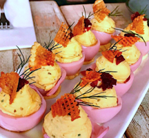 Root and bone deviled eggs pink
