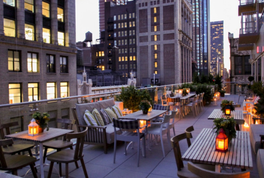 Rose terrace launch party evening colors