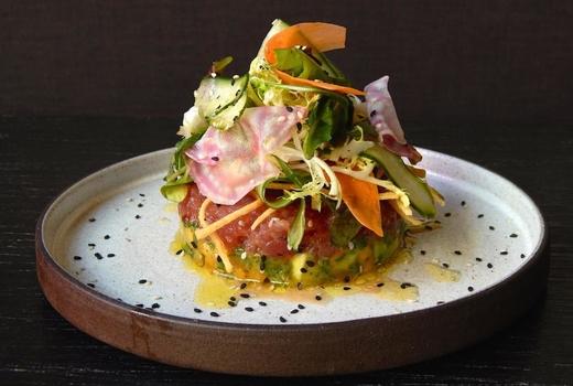 Blackbarn tuna tartare fish raw
