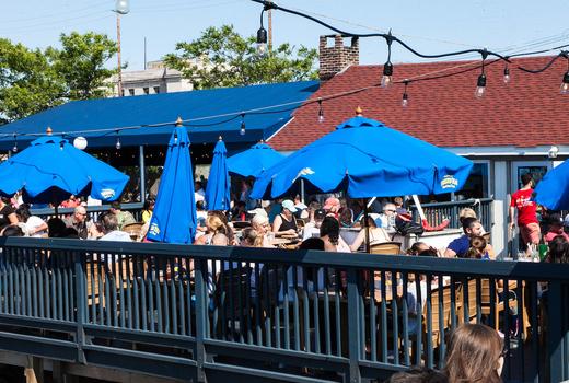 Bungalow luau party deck outdoor umbrellas