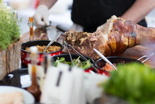 Bungalow luau party food pork yum
