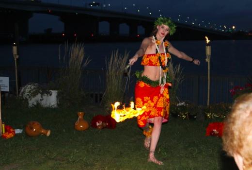 Bungalow luau party fire dancer