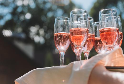 Rose terrace sparkling wine pink