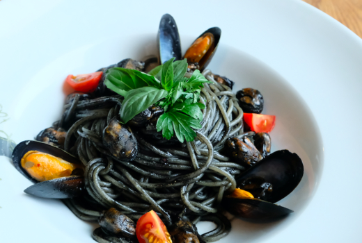 Fusion hk squid ink pasta