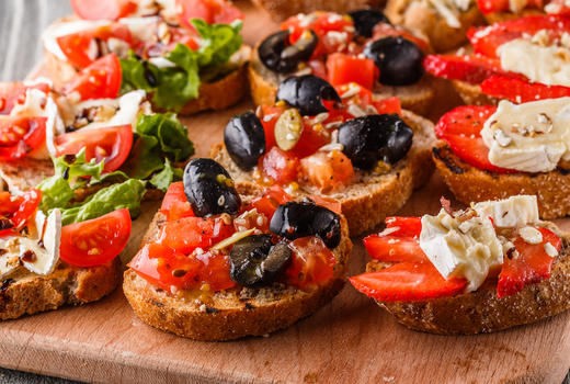 Summer rose bubbly fest bruschetta tomatoes