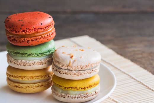 Silver factory macarons sweet colorful