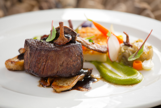 Tasting collective meat steak juicy beef