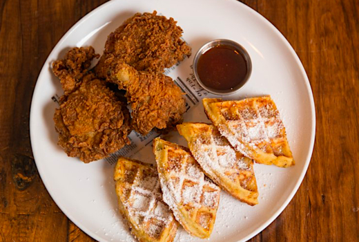 Parish chicken waffles syrup