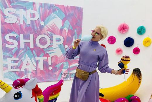 Sip shop eat woman purple dress cotton candy
