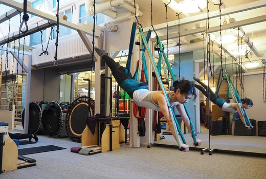 Pilates on fifth aerial bands