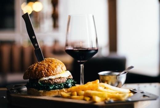 Parish dinner burger knife wine