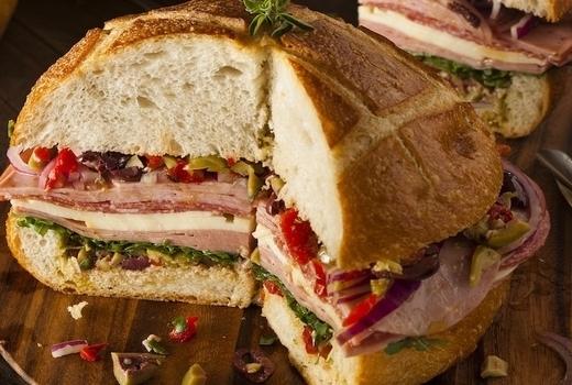 Parish dinner muffaletta sandwich loaded