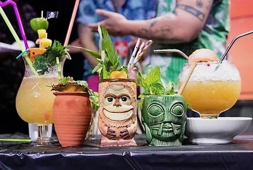 New york cocktail festival tiki glasses colorful
