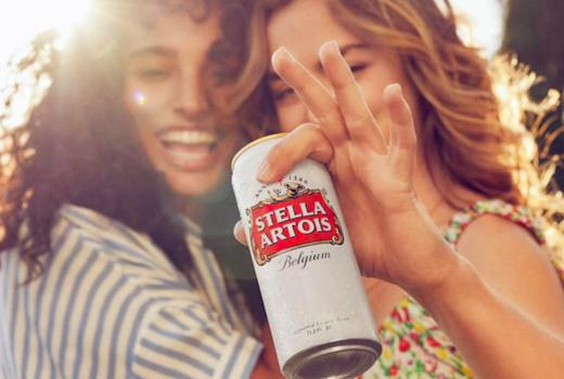 Stella artois sidebar beer can women happy