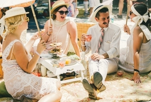 Jazz age lawn people drinking happy