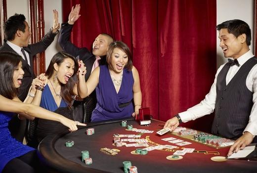 Big deal casino speakeasy party playing poker winning