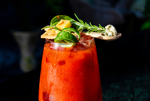 Lamias fish market bloody mary drink red