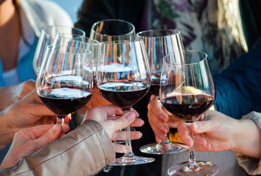 Wine fest cheers wine red