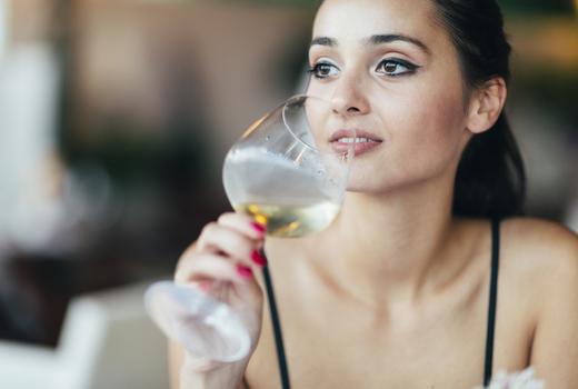 New york wine fest woman drinking sip