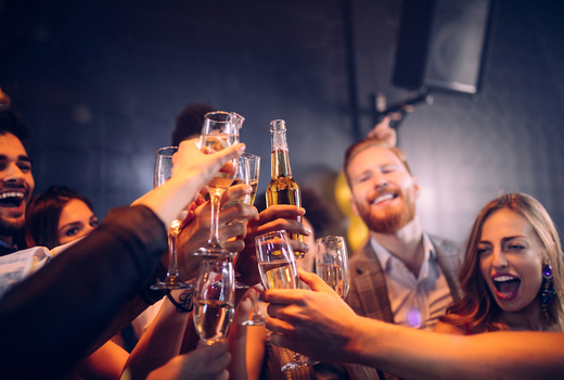 Big deal casino speakeasy party friends cheers champagne