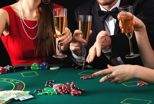 Big deal casino speakeasy night champagne glasses
