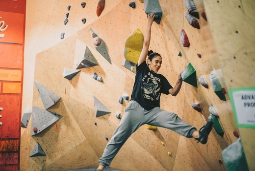 Brooklyn boulders woman fun happy