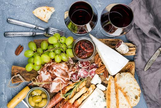 Make pasta drink charcuterie board wine1