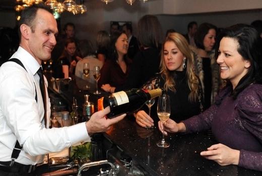 Flute champagne vintage school cheers bartender