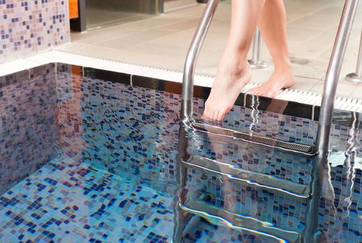 Russian turkish baths woman foot pool