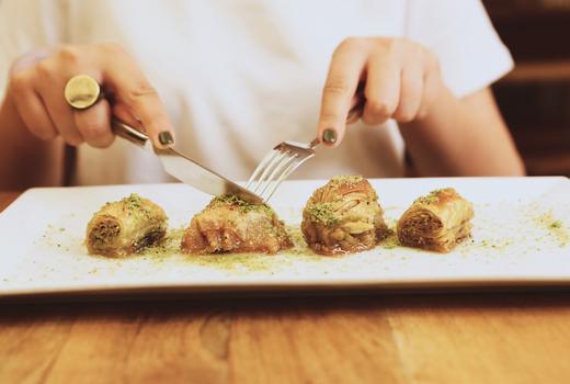 Eros dinner dessert baklava nyc