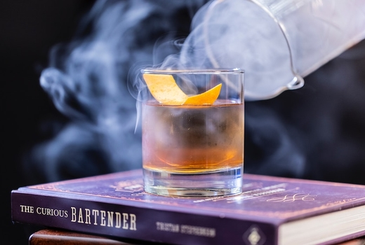 Bourbon burgers old fashioned cocktails smoke