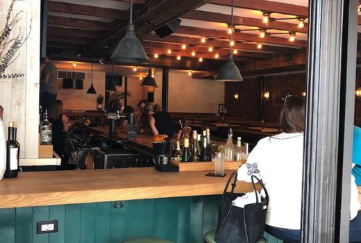 Jackdaw inside bar people
