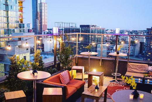 Kimoto rooftop table night