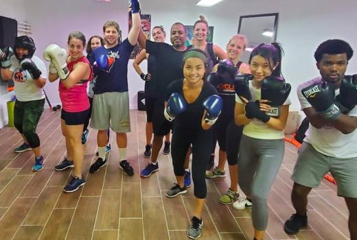 Hudson boxing gym group happy train