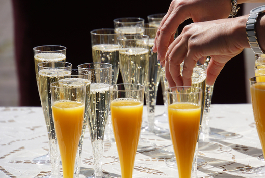 Rooftop exchange mimosas bubbles