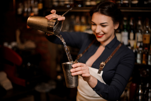 Broadstone cocktail experience drinks halloween woman making pour