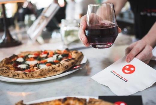 Medici wine pizza waiter