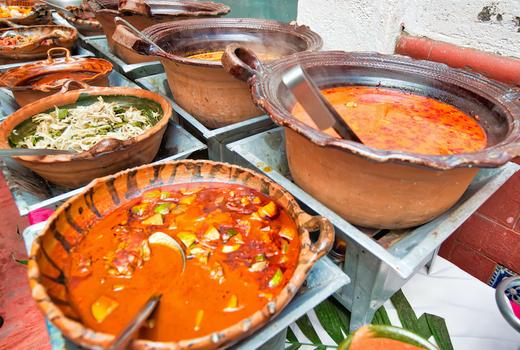 Pozole soup pots ladel