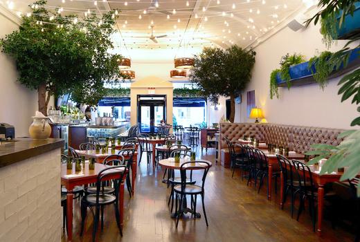 Main dining area trees bar tables